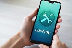 Steun, Klantenservicepictogram op het mobiele telefoonscherm Call centre, 24x7-hulp royalty-vrije stock foto's