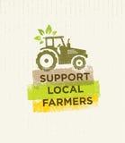 Steun Lokale Landbouwers De creatieve Organische Vectorillustratie van Eco op Gerecycleerde Document Achtergrond Stock Foto