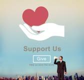 Steun ons Concept van Welzijns het Vrijwilligersschenkingen stock foto