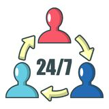 Steun 24 7 pictogram, beeldverhaalstijl Royalty-vrije Stock Fotografie