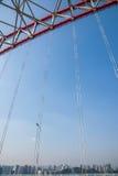 Steun van gebogen staalbalk van Chongqing Chaotianmen Yangtze River Bridge stock afbeeldingen