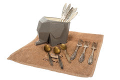 Steun voor het drogen van lepels en vorken Stock Foto