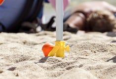 Steun voor strandparaplu de schroef van de strandparaplu stock fotografie