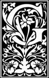 Steunt de bloemen decoratieve brief G en Wit Stock Afbeelding