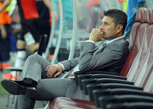 Stevan Mojsilovic of NK Domzale. Domzale's coach Stevan Mojsilovic pictured before the UEFA Europa League qualifying round game between Astra Giurgiu and NK Royalty Free Stock Images