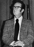 Steve Allen. Attends a Democratic Party rally at the Hollywood Palladium in September, 1974. Allen was a popular television personality with dazzling multi Royalty Free Stock Images