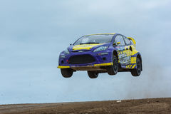 Steve Arpin rally driver jumps Stock Photography