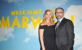 Steve Carell en Nancy Carell stock foto