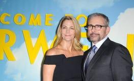 Steve Carell en Nancy Carell stock afbeelding