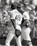 Steve Chitren e Terry Steinbach, bateria dos Oakland Athletics fotos de stock royalty free