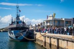 Steve Irwin Docked del pastor del mar en el puerto Adelaide Fotografía de archivo