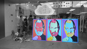 Steve Jobs Memorial, in front of the  Apple Store. Steve Jobs Memorial,  art and flowers in front of the  Apple Store Royalty Free Stock Image