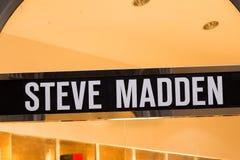 Steve Madden logo on Steve Madden`s shop. Florence, Italy - OCTOBER 25, 2018: Steve Madden logo on Steve Madden`s shop. Steve Madden is an international american royalty free stock photography