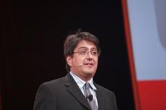 Steve Miranda hace discurso en la conferencia de OpenWorld Fotografía de archivo