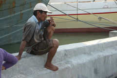 Stevedore in Jakarta, Central Java, Indonesia. Stock Photo