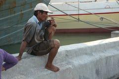 Stevedore in Jakarta, Central Java, Indonesia. Stock Photo