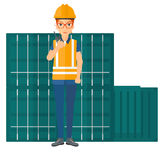 Stevedore standing on cargo containers background. A docker talking to a portable radio on cargo containers background vector flat design illustration isolated Stock Photo