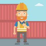 Stevedore standing on cargo containers background. A hipster man with the beard talking to a portable radio on cargo containers background vector flat design Royalty Free Stock Images