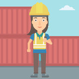 Stevedore standing on cargo containers background. A woman talking to a portable radio on cargo containers background vector flat design illustration. Square Royalty Free Stock Image