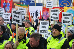Stevedores protest at Port of Oslo. Norwegian dockers and trade unionists protest the new owner of the port of Oslo 05.02.2015, after the Turkish company Yilport Royalty Free Stock Image