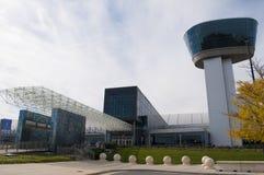 Steven F Aire de Smithsonian y anexo nacionales Udvar-nebulosos del museo espacial Foto de archivo libre de regalías
