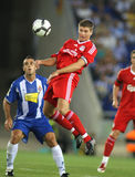 Steven Gerrard. Of Liverpool FC in action during a friendly match against RCD Espanyol at the Estadi Cornella-El Prat on August 2, 2009 in Barcelona, Spain Royalty Free Stock Photos