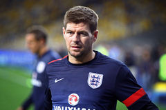 Steven Gerrard of England. KYIV, UKRAINE - SEPTEMBER 9, 2013: Steven Gerrard of England looks on during training session at NSC Olympic stadium before FIFA World Royalty Free Stock Images