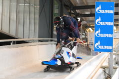 Steven Holcomb and Samuel McGuffie - bobsleigh. Starting Steven Holcomb and Samuel McGuffie from USA in the world cup race in bobsleigh held in Altenberg on 28 Royalty Free Stock Photography