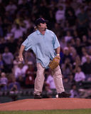 Steven Stills throws out the first pitch. Royalty Free Stock Photo