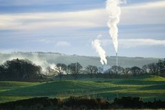 Stevens Croft Power Station Emissions. Stevens Croft power station is in Lockerbie, Dumfries and Galloway in south west Scotland. It is the largest wood fired stock photography