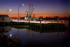 Steveston早晨,水平的码头边 免版税库存图片