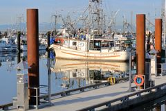 Steveston, Canada Fishing Marina. A large marina on Canada`s west coast and the fishing village of Steveston, British Columbia seen on March 12, 2018 Royalty Free Stock Photography