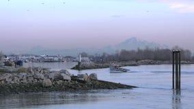 Steveston Fishboat Returning Slow Motion 4K stock footage