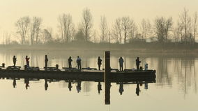 Steveston Harbor Dock Early Morning Fishermen stock footage