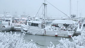 Steveston Marina, Fresh Snow stock video footage