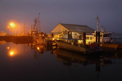 Steveston Night Dock Fog Royalty Free Stock Photos