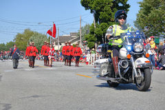 Steveston Salmon Day Festival and the RCMP. The Royal Canadian Mounted Police are proud participants in the annual Salmon and Canada Day celebrations in Royalty Free Stock Images