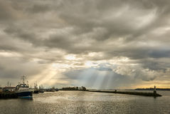 Steveston Storm Clouds and Sun Beams Stock Images