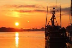 Steveston Sunrise. Sunrise at the marina in Steveston Harbor, British Columbia, Canada where the commercial fishing fleet waits for the fishing season to open Royalty Free Stock Photography