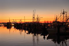 Steveston Sunrise. The calm water of Steveston Harbor in British Columbia, Canada near Vancouver Stock Image
