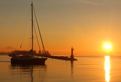 Steveston Sunrise Sailboat Departure Royalty Free Stock Photography