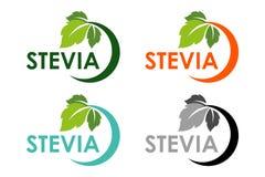 Stevia ή γλυκό λογότυπο χλόης που τίθεται με τα πράσινα βοτανικά φύλλα ελεύθερη απεικόνιση δικαιώματος