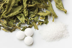 Stevia in drei Formen stockfotografie