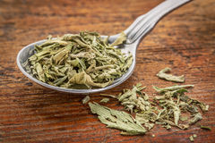 Stevia dried leaves on tablespoon Royalty Free Stock Images