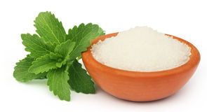 Stevia mit Zucker Lizenzfreies Stockbild