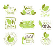 Stevia Natural Food Sweetener Additive And Sugar Substitute Set Of Green Color Logo Design Templates With Plant Leaves Royalty Free Stock Photography