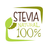 Stevia natural logo. Healthy product label vector Illustration Royalty Free Stock Image