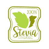 Stevia organic logo symbol. Healthy product label vector Illustration Stock Images