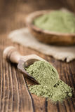 Stevia Powder. On an old wooden table (close-up shot Royalty Free Stock Photography