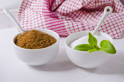 Stevia Powser and Brown Sugar. Natural Sweeteners. Royalty Free Stock Image